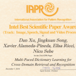 Best Scientific Paper Award at IAPR ICPR'16